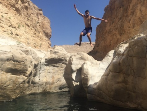 The wadis of Oman are full of clear, cool, waterholes with great places for jumping and playing.
