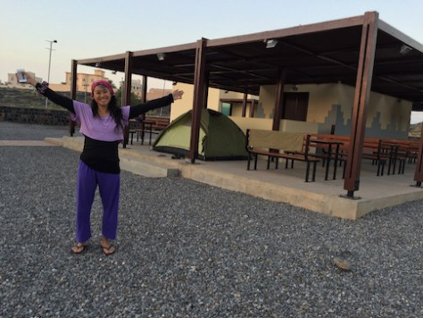 For the 3rd night, we camped for free at a 5 star public facility with toilet, shower, electricity, and great Omani hospitality.