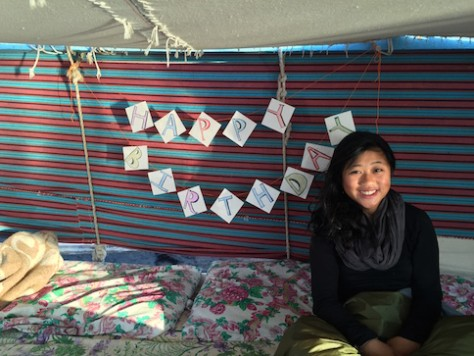 Olivia woke up to a birthday banner surprise on the felucca.
