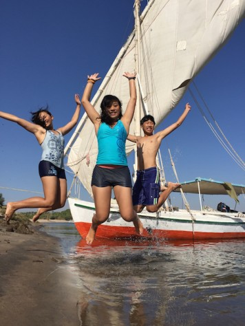 On the felucca, we often stop by the shore for quick swims.