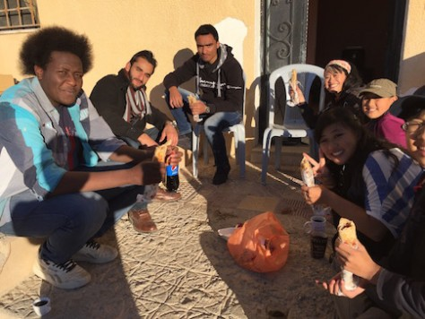 We often talk and eat under the sunlight to keep warm due to the close to zero degree temperature at Petra.