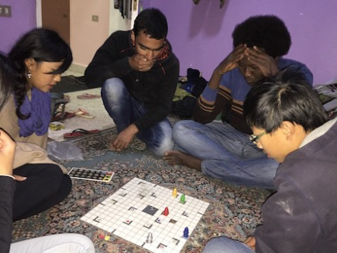 """Bel enjoyed playing the """"smart"""" game that we brought with us on the trip."""