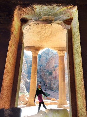 The tombs of Petra were not built but carved into the sandstone mountains.