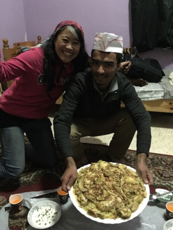 Omar taught Annie how to make Mansaf, Jordan's National dish.