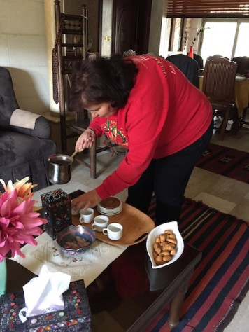 Our AirBnB host invited us to her home and served tea and biscuits to us. She is an Arab Christian.