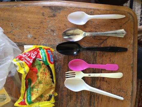 We collected spoons and forks from India, Dubai, China, Kyrgyzstan in our utensil bag.
