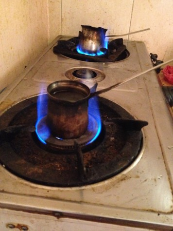 In Jordan, coffee is cooked one cup at a time over fire in small pots.