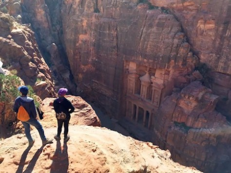 "We hiked up to the vista overlooking the famous ""Treasury"" tomb in Petra."