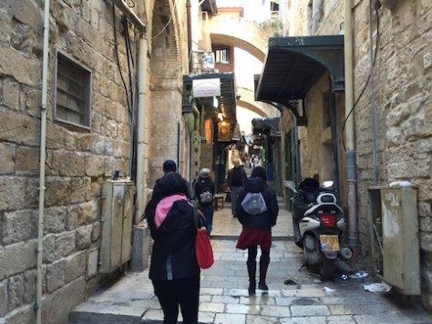 We walked down and up the narrow of Via Dolorosa, The Road of Agony, where Jesus carried the cross to be crucified.