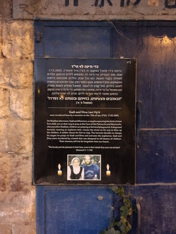 This is a plague memorializing the stop where the Jewish couple were killed by a suicide bomber.