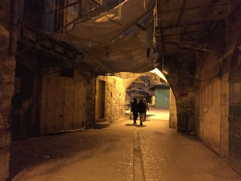 It was really scary to walk through the deserted street at night on the Arab side parallel to the Jewish side, knowing that soldiers are on the rooftops.