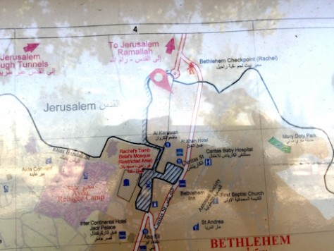 From the map, one can see how the dividing wall went inside the border like a finger and surrounded the Tomb of Rachael to have it accessible on the Israeli side.