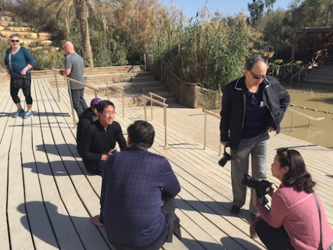 By God's grace, we met a group of Chinese tourists at the Jordan River who were willing to let us hitchhike.