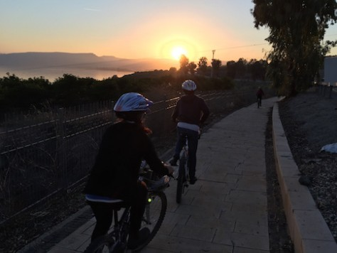 We followed Jesus' footstep by biking around the Sea of Galilee from sunrise to sunset. This is near Capernaum where Jesus based his ministry.
