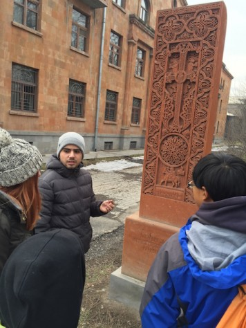Hrant shared about how the cross stones were erected to commemorate special events.