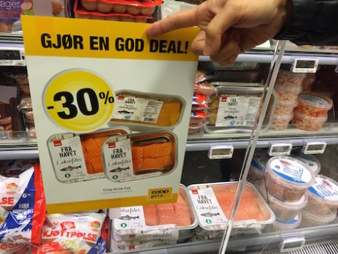 "We found really ""God Deal"" on fresh salmon at Oslo, Norway. It was USD 5 for a 1/2 kilo package."