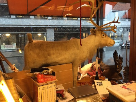 Stuffed reindeer and hare were displayed at the front of the store.