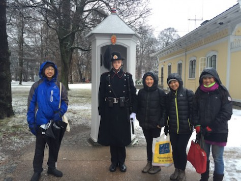 We saw the top and one of the very few free things to do in Oslo, Norway -- changing of the guard.