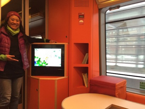 We were surprised that our train in Norway has a special play area for children.