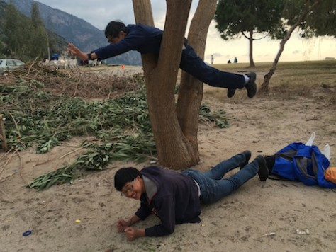 For the birthday photo scavenger hunt, George & Nathan posed for the most creative planking.