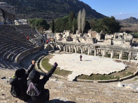 We re-enacted the scene in Acts when Paul's companions had to withstand chanting protests from 25,000 mobs at the front of the theatre at Ephesus.