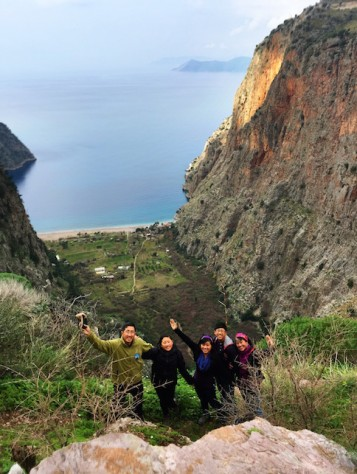 The butterfly valley nestled between sheer cliffs on three sides was breath taking as we rock climbed down.