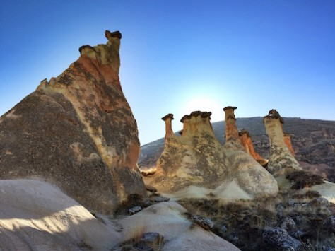 The rock formation at Cappadocia looked alien when observing from the ground up.