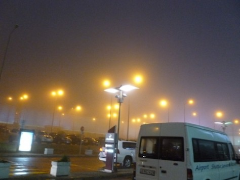 All flights were cancelled due to the heavy fog.