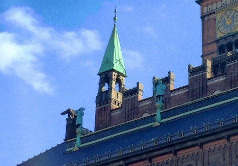 The City Hall tower has similar architecture as Amsterdam except for the polar bear.
