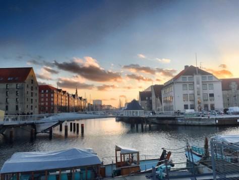 Sunset over the harbor at Copenhagen.