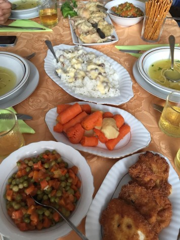 When we arrived at noon, we were overwhelmed by all the food Maria had prepared.