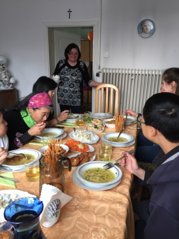 Maria kept bringing us more food as we feast in her home.