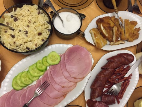 Szymon's mom cooked us big meals of traditional Polish dishes every day.