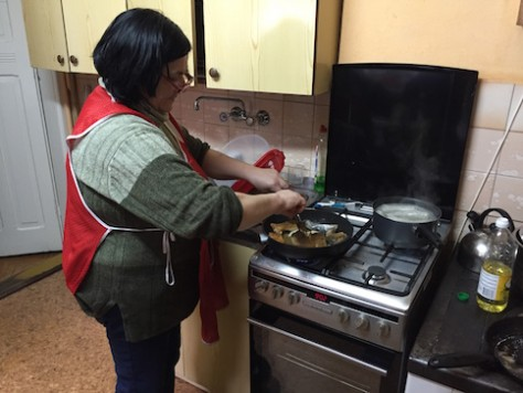 Szymon's mother, Maria, was up early every morning to cook us a big breakfast.