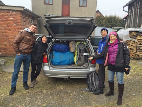 We picked up the car at Szymon's home and filled it with all our backpacks with no space to spare!