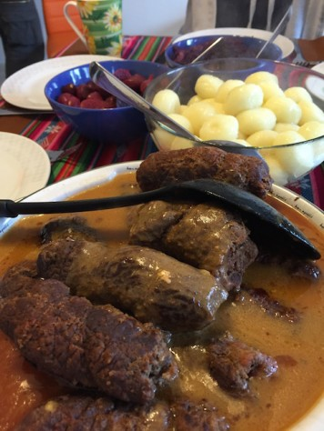 Ewa cooked us traditional Polish dishes (wrapped beef roll & flour potato balls) that they only cook twice a year!