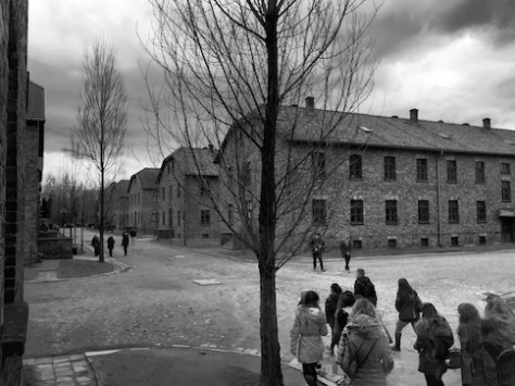 We walked through the infamous concentration camp of Auschwitz on a gloomy day.