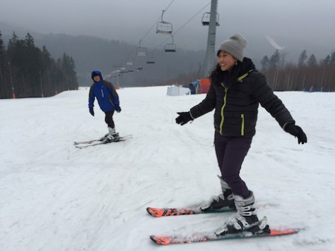 The children looked forward and had a great first day of skiing while in Poland.