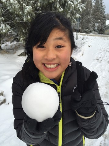 We instinctively began to make snowballs and throw them at each other.