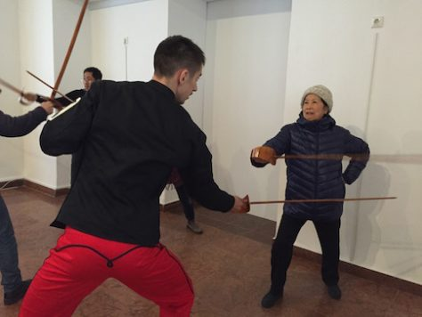 At Budapest, even Grandma bravely learned fencing with us.
