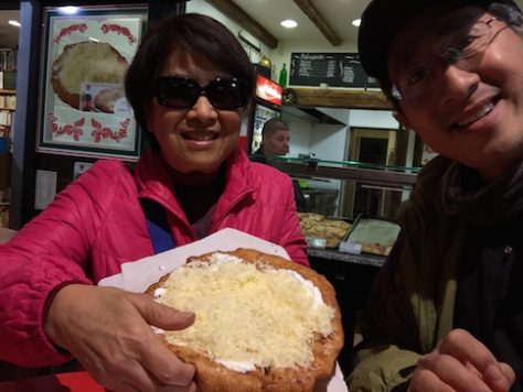 Jonathan and Grandma had cheesy Lango fried bread together for their first one-on-one date.