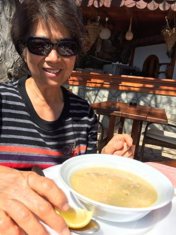 The fish soup by the shore of Ohrid Lake was very tasty and special for Grandama.