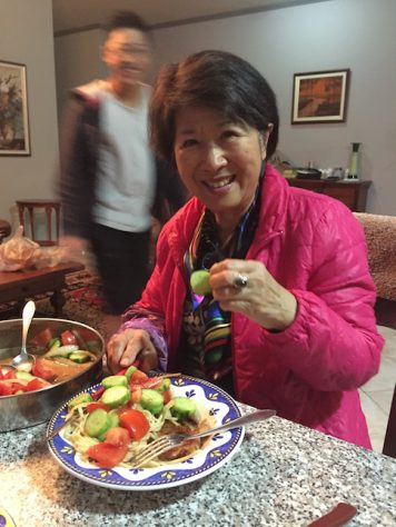 Good food brings out the excitement in Grandma.