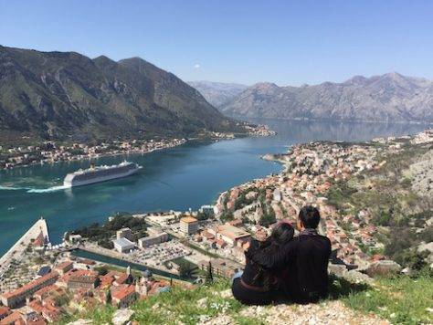 Sitting on top of the fortress of Kotor, Montenegro.