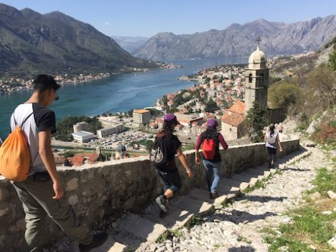We walked along the old fortress wall of Kotor in Montenegro.