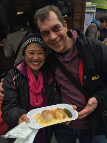Stefan, Annie's highschool classmate treated to Switzerland's famous street food, Raclette.