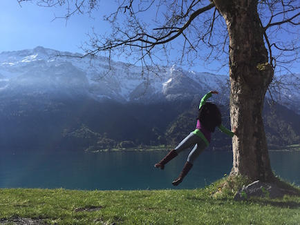 We camped right next to a beautiful lake at Interlaken, Switzerland.