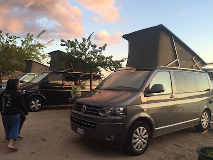 We were in awed by the sleek California Volkswagon campervan at the campsite.