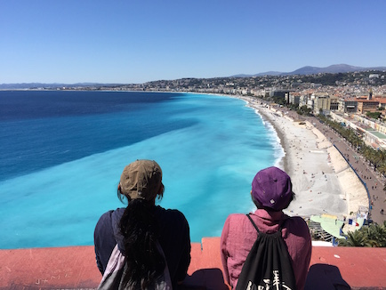 Joani and Olivia were overwhelmed by the various gradient colors of azur-blue that permeated the beaches of Nice, France.