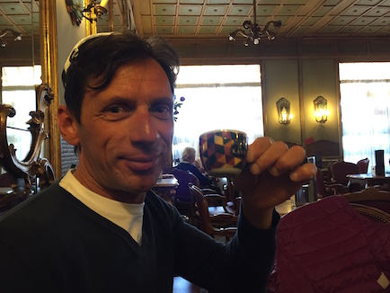 Alessandro brought us to drink Italian expresso at the historical cafe where Hemingway drank coffee in Cuneo, Italy.